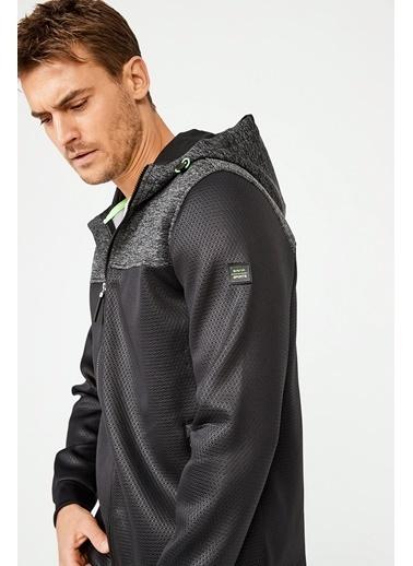 Avva Erkek  Kapüşonlu Yaka Fermuarlı Sweatshirt A02Y1012 Siyah
